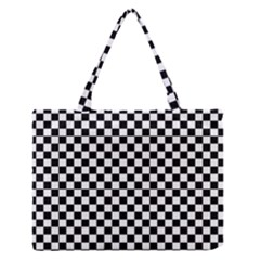 Checker Black And White Zipper Medium Tote Bag by jumpercat