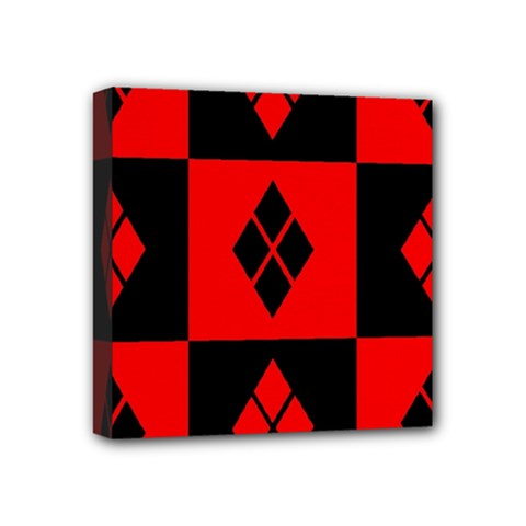 Red And Black Pattern Mini Canvas 4  X 4