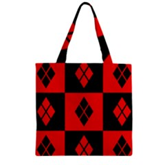 Red And Black Pattern Zipper Grocery Tote Bag