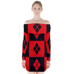 Red And Black Pattern Long Sleeve Off Shoulder Dress