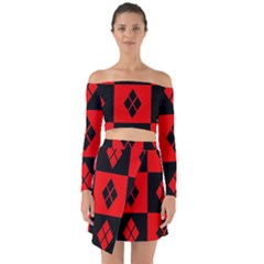 Red And Black Pattern Off Shoulder Top With Skirt Set
