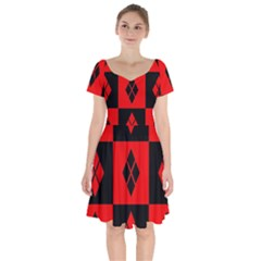 Red And Black Pattern Short Sleeve Bardot Dress