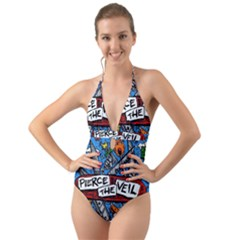 Album Cover Pierce The Veil Misadventures Halter Cut Out One Piece Swimsuit by Samandel