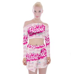 Barbie Pattern Off Shoulder Top With Mini Skirt Set