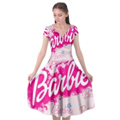 Barbie Pattern Cap Sleeve Wrap Front Dress