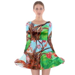 Coral Tree Blooming Long Sleeve Skater Dress by bestdesignintheworld