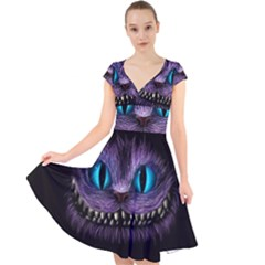 Cheshire Cat Animation Cap Sleeve Front Wrap Midi Dress