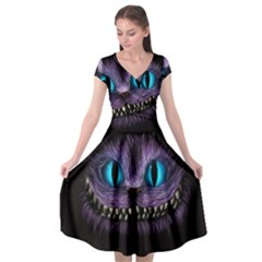 Cheshire Cat Animation Cap Sleeve Wrap Front Dress