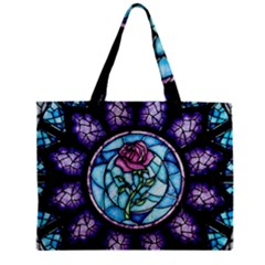 Cathedral Rosette Stained Glass Zipper Mini Tote Bag by Samandel