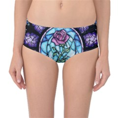 Cathedral Rosette Stained Glass Mid Waist Bikini Bottoms by Samandel