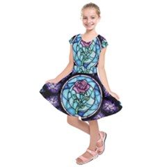 Cathedral Rosette Stained Glass Kids  Short Sleeve Dress