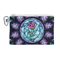 Cathedral Rosette Stained Glass Canvas Cosmetic Bag (large) by Samandel