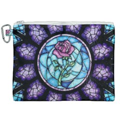 Cathedral Rosette Stained Glass Canvas Cosmetic Bag (xxl)