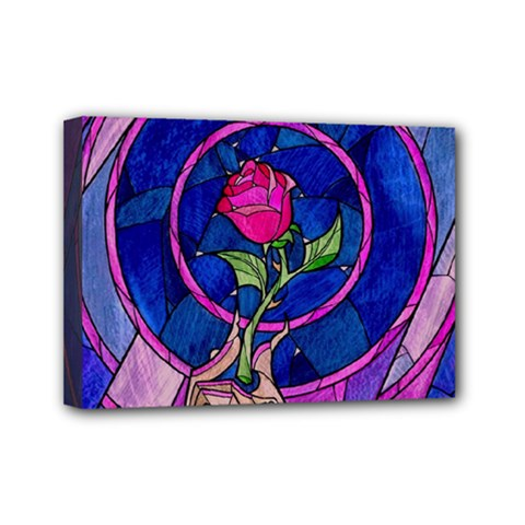 Enchanted Rose Stained Glass Mini Canvas 7  X 5  by Samandel