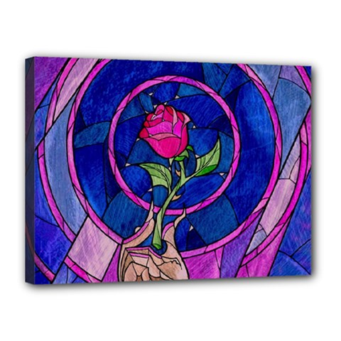 Enchanted Rose Stained Glass Canvas 16  X 12  by Samandel