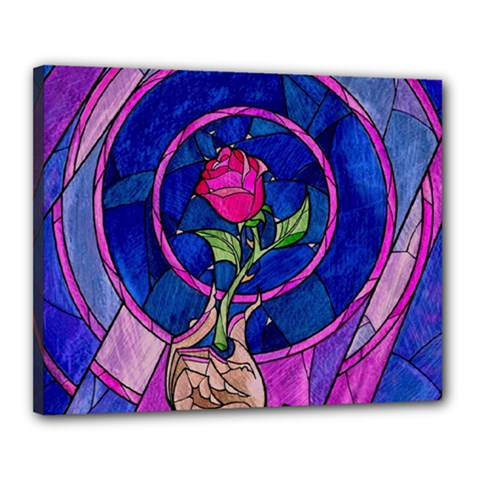 Enchanted Rose Stained Glass Canvas 20  X 16  by Samandel