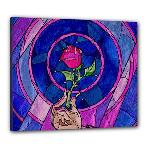 Enchanted Rose Stained Glass Canvas 24  X 20  by Samandel