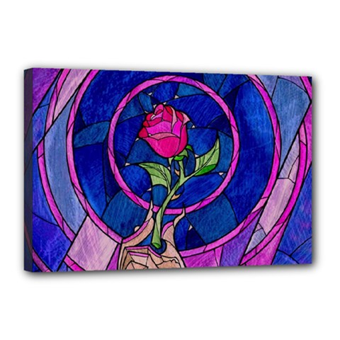 Enchanted Rose Stained Glass Canvas 18  X 12  by Samandel