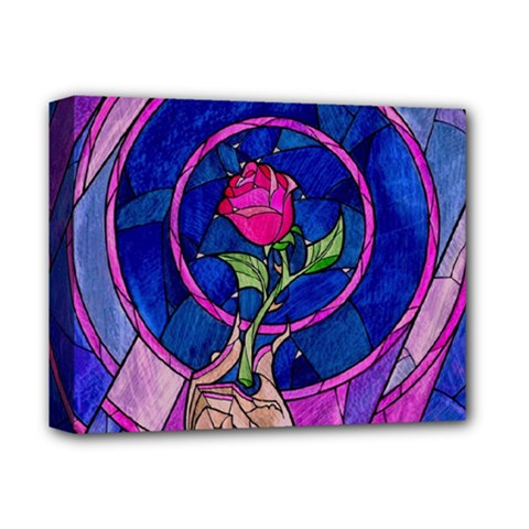 Enchanted Rose Stained Glass Deluxe Canvas 14  X 11  by Samandel