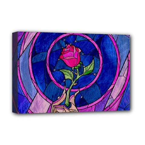 Enchanted Rose Stained Glass Deluxe Canvas 18  X 12   by Samandel
