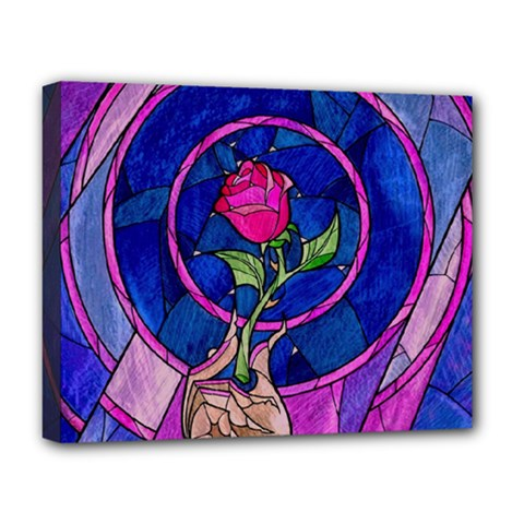 Enchanted Rose Stained Glass Deluxe Canvas 20  X 16   by Samandel