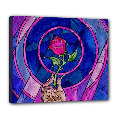 Enchanted Rose Stained Glass Deluxe Canvas 24  X 20   by Samandel
