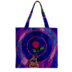 Enchanted Rose Stained Glass Zipper Grocery Tote Bag by Samandel