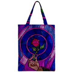 Enchanted Rose Stained Glass Zipper Classic Tote Bag by Samandel