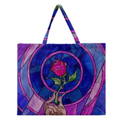 Enchanted Rose Stained Glass Zipper Large Tote Bag by Samandel