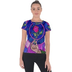 Enchanted Rose Stained Glass Short Sleeve Sports Top
