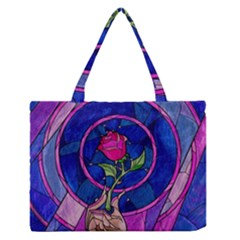 Enchanted Rose Stained Glass Zipper Medium Tote Bag by Samandel