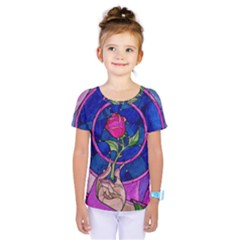 Enchanted Rose Stained Glass Kids  One Piece Tee by Samandel