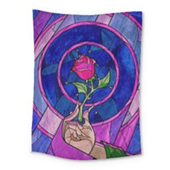 Enchanted Rose Stained Glass Medium Tapestry by Samandel