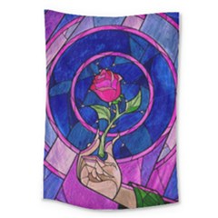 Enchanted Rose Stained Glass Large Tapestry by Samandel
