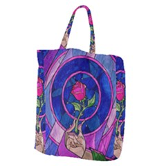 Enchanted Rose Stained Glass Giant Grocery Zipper Tote by Samandel