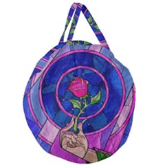 Enchanted Rose Stained Glass Giant Round Zipper Tote by Samandel