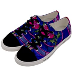 Enchanted Rose Stained Glass Men s Low Top Canvas Sneakers by Samandel