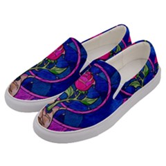 Enchanted Rose Stained Glass Men s Canvas Slip Ons by Samandel