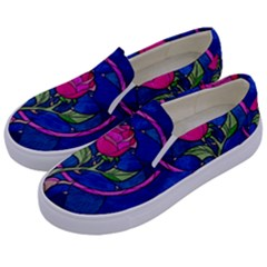 Enchanted Rose Stained Glass Kids  Canvas Slip Ons by Samandel