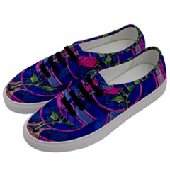 Enchanted Rose Stained Glass Men s Classic Low Top Sneakers by Samandel