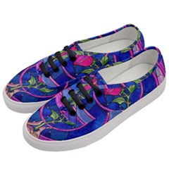 Enchanted Rose Stained Glass Women s Classic Low Top Sneakers by Samandel