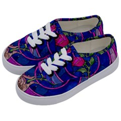 Enchanted Rose Stained Glass Kids  Classic Low Top Sneakers by Samandel