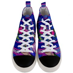 Enchanted Rose Stained Glass Men s Mid Top Canvas Sneakers