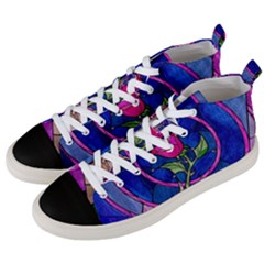 Enchanted Rose Stained Glass Men s Mid Top Canvas Sneakers by Samandel