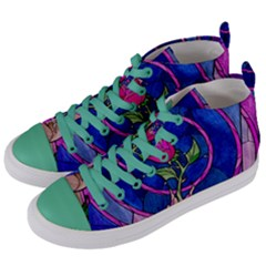 Enchanted Rose Stained Glass Women s Mid Top Canvas Sneakers by Samandel