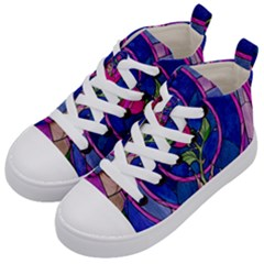 Enchanted Rose Stained Glass Kid s Mid Top Canvas Sneakers by Samandel