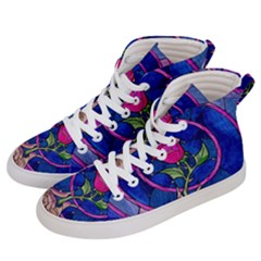 Enchanted Rose Stained Glass Men s Hi Top Skate Sneakers by Samandel