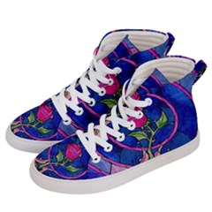 Enchanted Rose Stained Glass Women s Hi Top Skate Sneakers by Samandel
