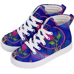 Enchanted Rose Stained Glass Kid s Hi Top Skate Sneakers by Samandel