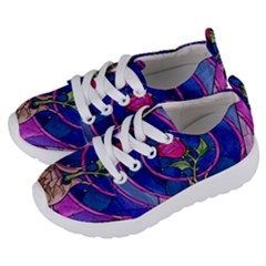 Enchanted Rose Stained Glass Kids  Lightweight Sports Shoes by Samandel